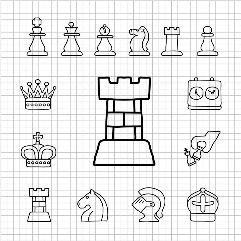 14329106 - white series   hand drawn chess icon set